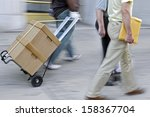 delivery goods with dolly by... | Shutterstock . vector #158367704