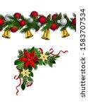 vector christmas border... | Shutterstock .eps vector #1583707534