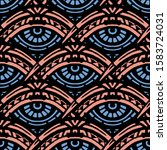 hand made ethnic pattern with... | Shutterstock .eps vector #1583724031
