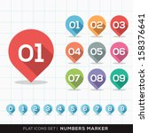 set of numbers pin marker flat... | Shutterstock .eps vector #158376641