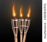 Realistic Burning Tiki Torch...