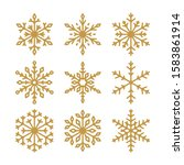 set of vector golden snowflakes ... | Shutterstock .eps vector #1583861914