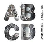 mechanical alphabet. raster... | Shutterstock . vector #158388401