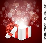 christmas gift box with... | Shutterstock .eps vector #1584028534
