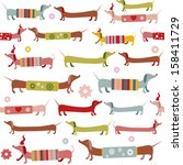Winter dachshund seamless pattern - stock vector