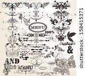vector set of calligraphic... | Shutterstock .eps vector #158415371