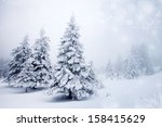 christmas background with snowy ... | Shutterstock . vector #158415629