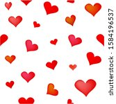 Vector Set Of Red Hearts On A...