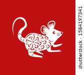 the year of mouse happy...   Shutterstock .eps vector #1584197341