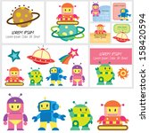cute robot clip art and layouts | Shutterstock .eps vector #158420594