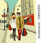couple doing shopping | Shutterstock .eps vector #158423501