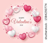 valentine's day background with ... | Shutterstock .eps vector #1584250774