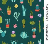 cactus seamless pattern. vector ... | Shutterstock .eps vector #1584275347