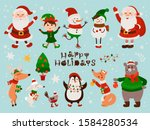 christmas set with isolated... | Shutterstock .eps vector #1584280534