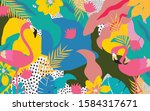 colorful flowers and leaves... | Shutterstock .eps vector #1584317671