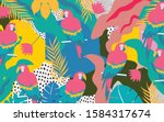 colorful flowers and leaves... | Shutterstock .eps vector #1584317674