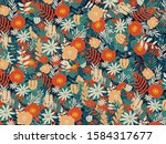 colorful flowers and leaves... | Shutterstock .eps vector #1584317677