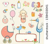vector baby girl set. | Shutterstock .eps vector #158433041