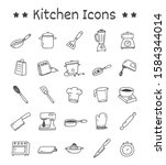 set of kitchen icons in doodle... | Shutterstock .eps vector #1584344014