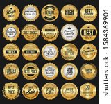 collection of golden badges... | Shutterstock . vector #1584369901