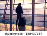 traveler silhouettes at airport ... | Shutterstock . vector #158437154