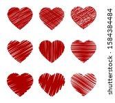 vector hearts doodle hatching...   Shutterstock .eps vector #1584384484