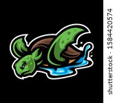 Turtle Head Mascot Logo Vector