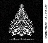 christmas card. christmas tree. ... | Shutterstock . vector #158445329