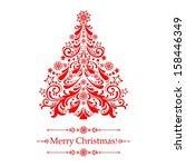 christmas card. christmas tree. ... | Shutterstock . vector #158446349