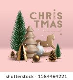 christmas postcard with... | Shutterstock .eps vector #1584464221