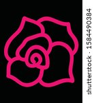 rose silhouette with highlight... | Shutterstock .eps vector #1584490384