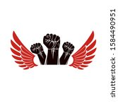 winged clenched fists of angry...   Shutterstock .eps vector #1584490951