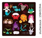 zodiac sign illustrations... | Shutterstock .eps vector #158451944