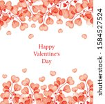 watercolor border of hearts on... | Shutterstock . vector #1584527524