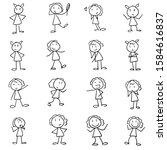 set of 16 stick figure girls...   Shutterstock .eps vector #1584616837