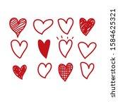 set of  hand drawn heart.... | Shutterstock .eps vector #1584625321