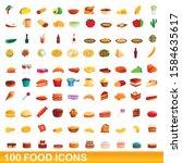 100 food icons set. cartoon... | Shutterstock .eps vector #1584635617