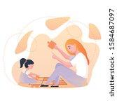 a ginger babysitter or nanny... | Shutterstock .eps vector #1584687097