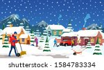 people removing snow flat... | Shutterstock .eps vector #1584783334