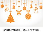 hanging christmas ornaments.... | Shutterstock .eps vector #1584795901