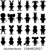 set of vector silhouettes of... | Shutterstock .eps vector #1584823927