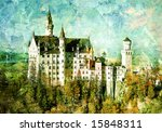 Neuschwanstein castle - picture in painting style - stock photo