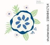 hand drawn stylized flower clip ... | Shutterstock .eps vector #1584841714