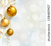 background with christmas balls ... | Shutterstock . vector #158485907