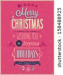vintage christmas poster.... | Shutterstock .eps vector #158488925