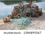 Lobster And Crab Pots On A Dock....