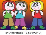 friends forever  three cute... | Shutterstock . vector #15849340