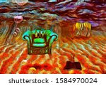 Surreal Painting. Armchair And...