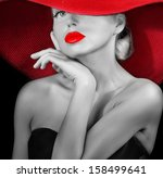 Classy Lady In Red Hat Black...