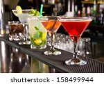 Stock photo five cocktails on the bar counter 158499944